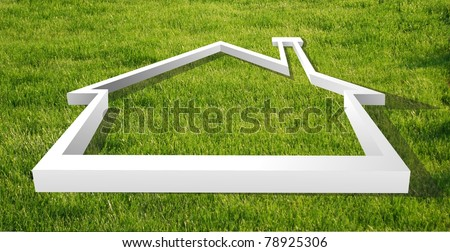 White house outline in the grass for real estate, financial or family themes - stock photo