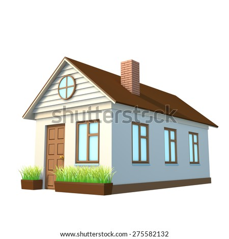 Detailed flat style american house vector stock vector for Building houses with side views