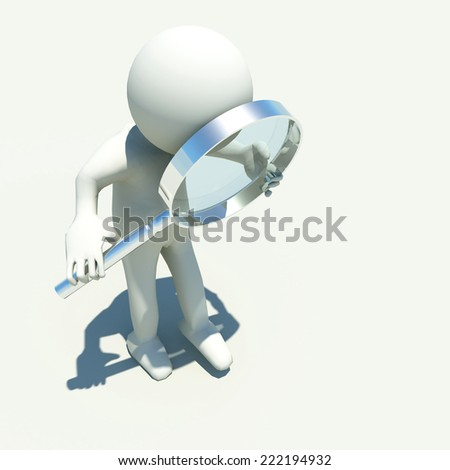 white human character with magnifier len investigate - research - stock photo