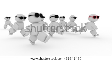 white humans with glasses running