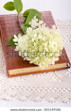 White Hydrangea flower on diary