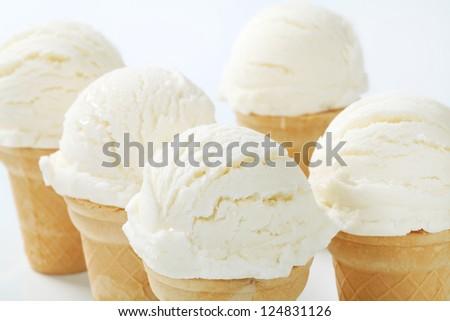 White ice cream cones  - stock photo