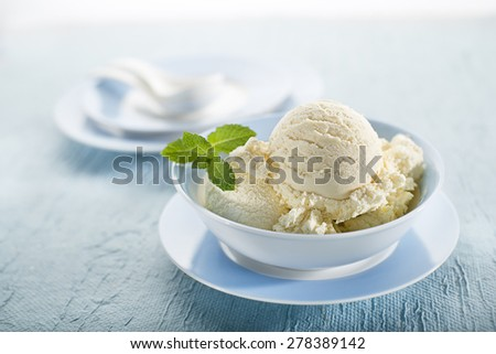 White Ice cream in a bowl close up - stock photo