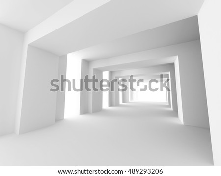 White Interior Background Design Architecture. 3d Render Illustration