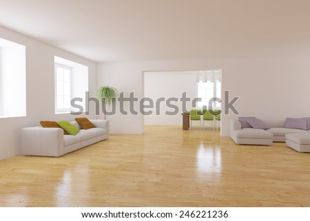 white interior concept with modern furniture -3D rendering - stock photo