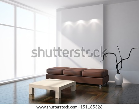 white interior design - stock photo