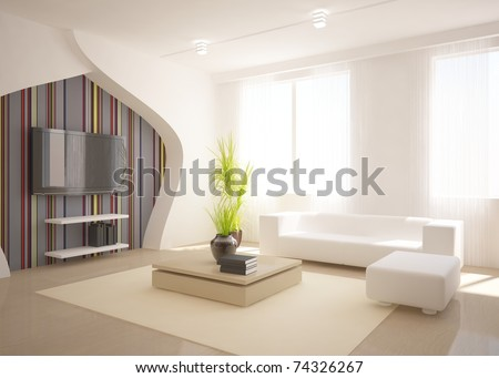 white interior design - stock photo