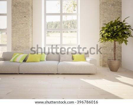 White interior design - 3d illustration - stock photo