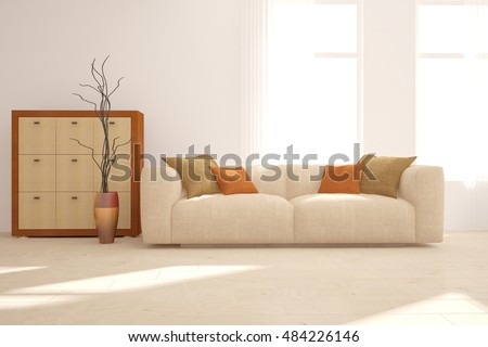 White interior design. 3D illustration