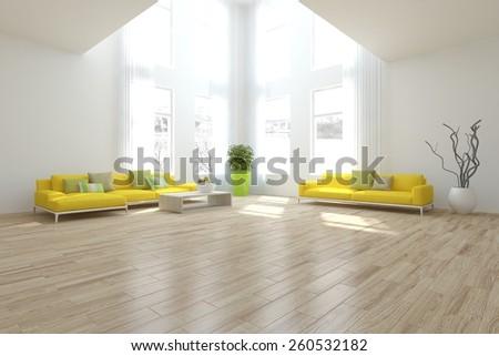 white interior design-3D rendering - stock photo