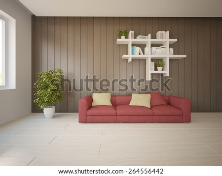 white interior design-3D rendering - stock photo
