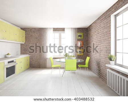 White interior design of kitchen with violet furniture - 3d illustration - stock photo