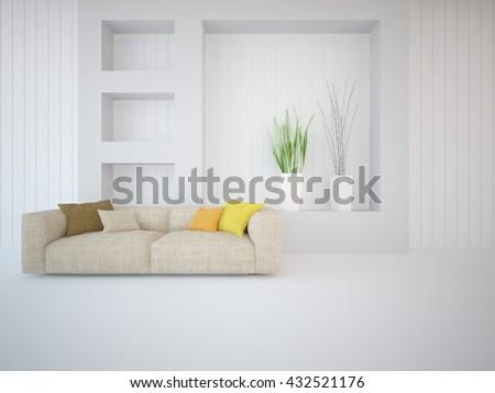 white interior design of living room. Modern house. 3D illustration - stock photo