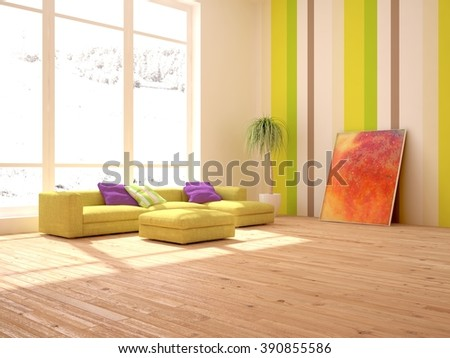 white interior design of living room with green furniture - 3d illustration - stock photo