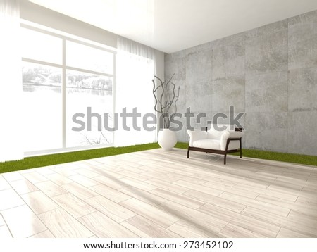 white interior design of modern house-3d rendering - stock photo