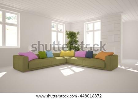 white interior design with sofa. Scandinavian style. 3D illustration - stock photo