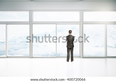 White interior design with windows and businessman. 3D Rendering - stock photo