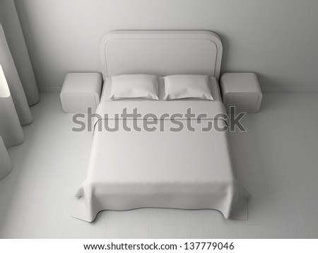 White interior of a bedroom with a big double bed - stock photo