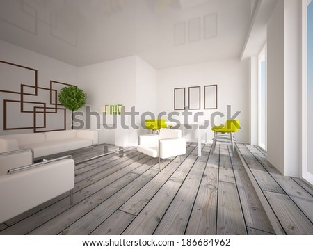 white interior of a living room