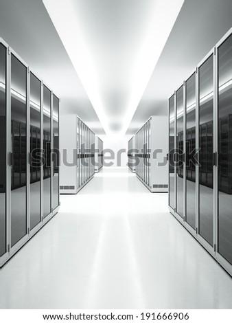 White interior of Data Center - stock photo