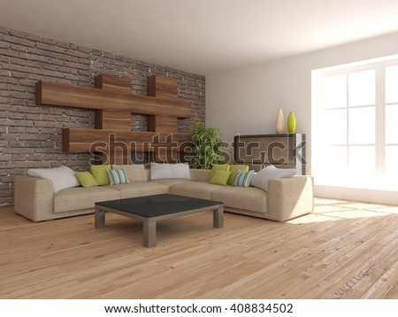 white interior of living room -3D illustration - stock photo