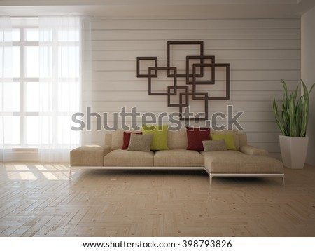 White interior of living room with colored furniture - 3d illustration - stock photo