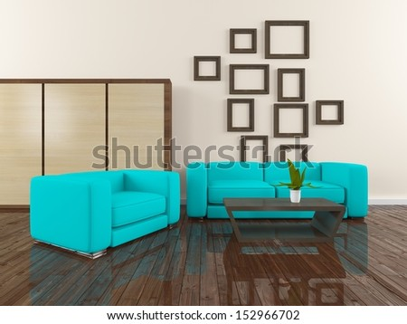 white interior with blue furniture - stock photo