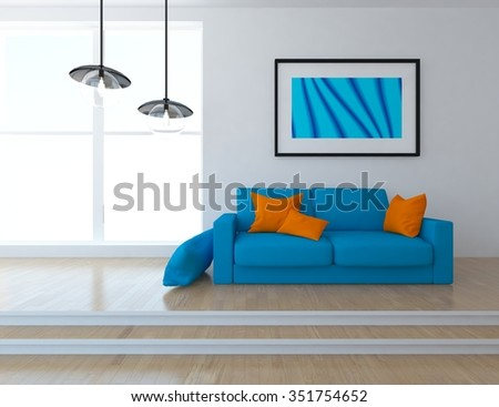 White interior with blue sofa. 3d illustration