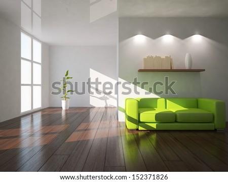 white interior with green sofa - stock photo