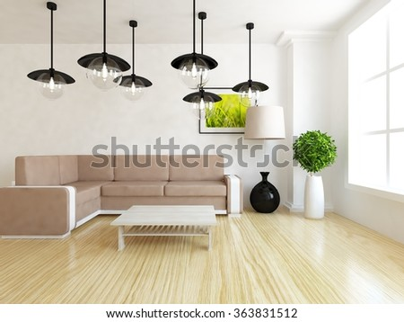white interior with sofa. 3d concept - stock photo