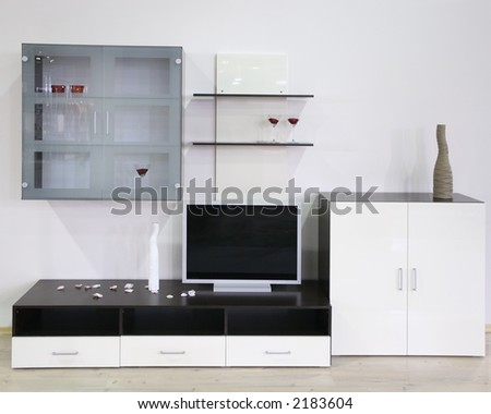 white interior with tv