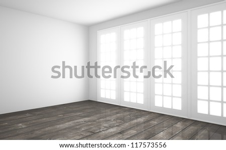 white interior with wooden floor - stock photo