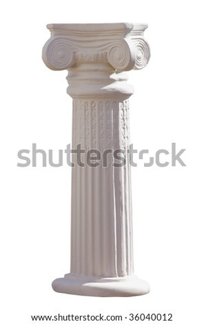 white ionic column isolated with clipping path