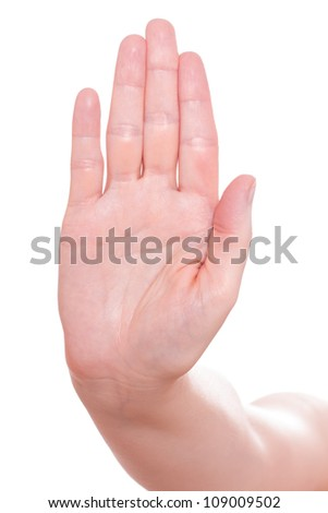 White isolated hand sign for stop - stock photo