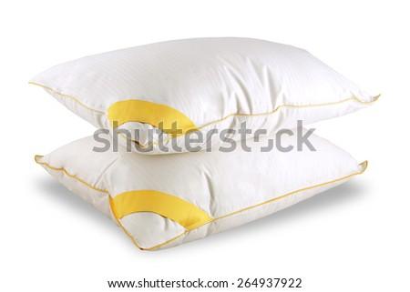 White isolated pillows  - stock photo