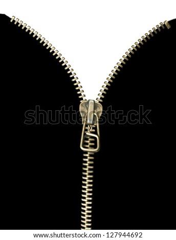 White isolated zipper . Black isolation . - stock photo