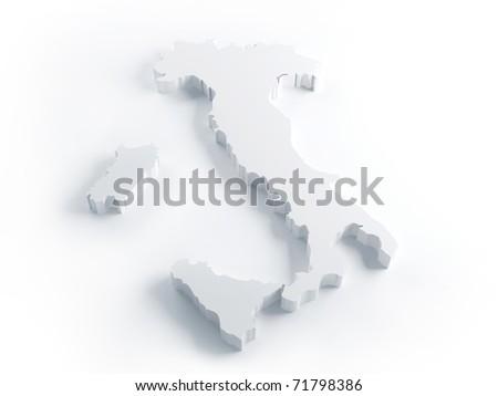 White Italy map  extrusion render - stock photo