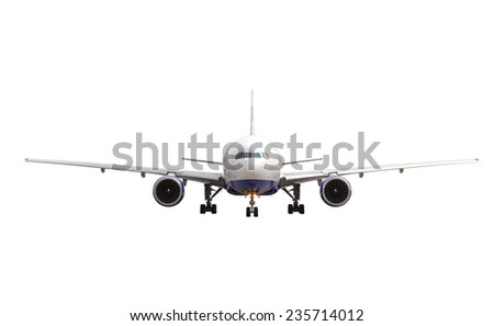 White jet airplane isolated on white background - stock photo