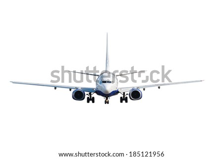 white jet passenger aircraft with the gear isolated on the white background