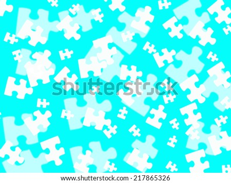 White jigsaw pieces on a turquois background  - stock photo