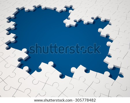 White Jigsaw pieces on Blue Background. High Quality 3D Render - stock photo