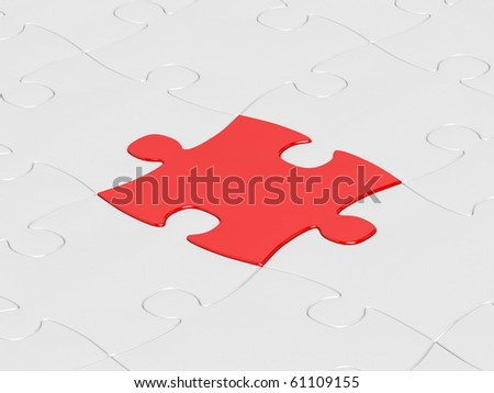 white jigsaw puzzle assembly with one red puzzle