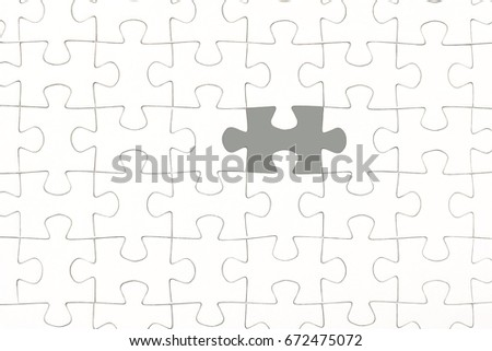 White jigsaw puzzle pieces background, jigsaw puzzle one piece missing