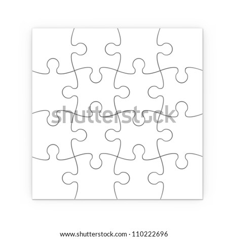 white jigsaw puzzle with clipping path - stock photo
