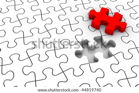 White jigsaw puzzle with last piece in red color. Image concept and part of a series. - stock photo