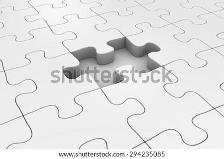 White Jigsaw Puzzle With Missing Piece