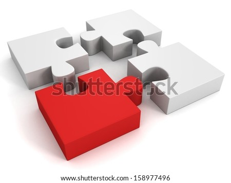 white jigsaw puzzles group with one red individual piece - stock photo
