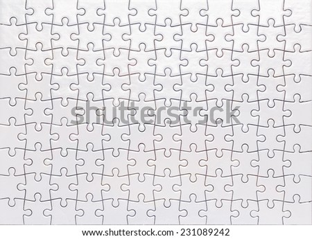 White Jigsaw Top view from above - stock photo