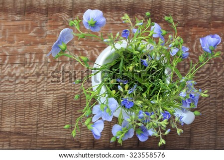 White jug with bouquet of meadow blue flowers on wooden background