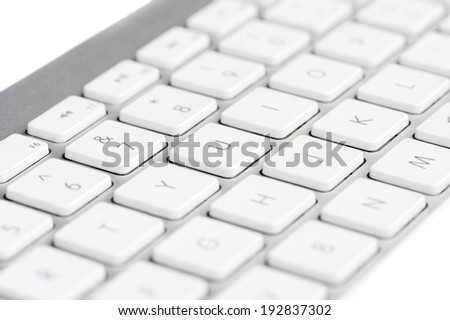 White Keyboard focused on the letter U - stock photo